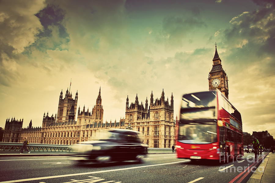 London Photograph - London The Uk Red Bus Taxi Cab In Motion And Big Ben by Michal Bednarek