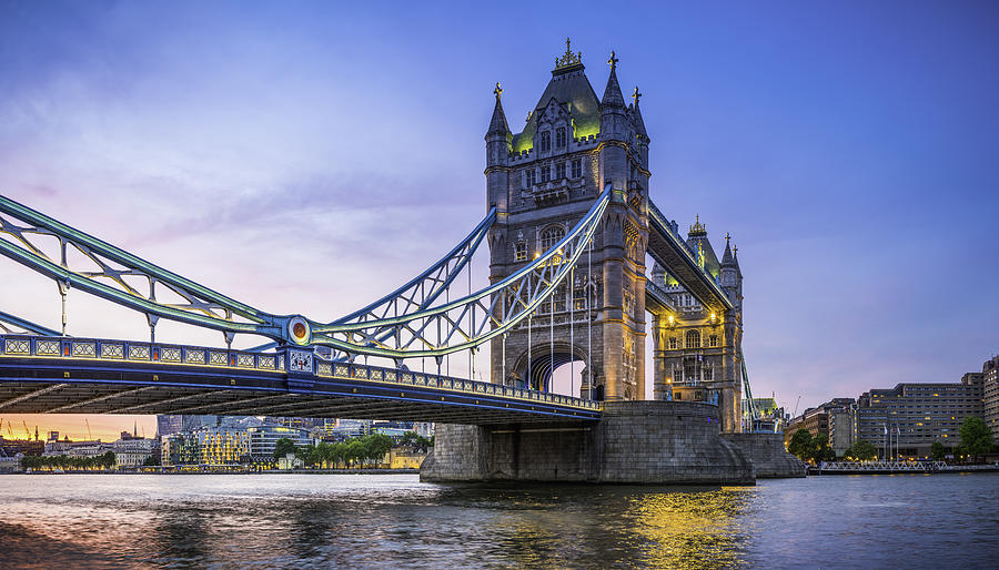 London Tower Bridge Illuminated At Sunset Over River Thames Panorama Photograph by fotoVoyager