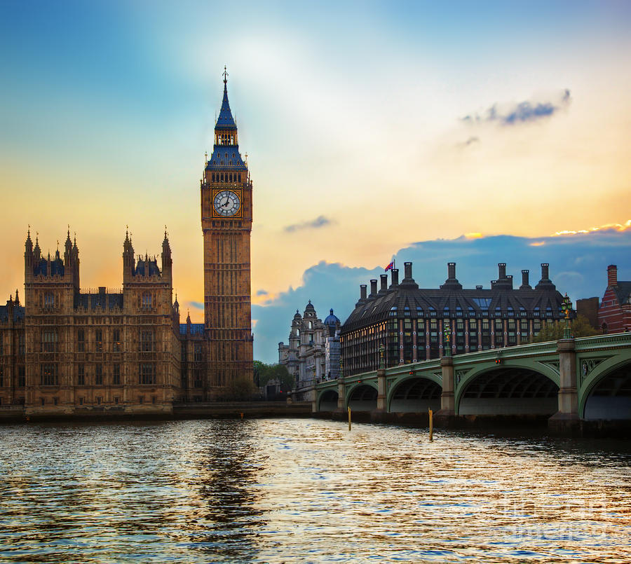 London Photograph - London Uk Big Ben The Palace Of Westminster At Sunset by Michal Bednarek