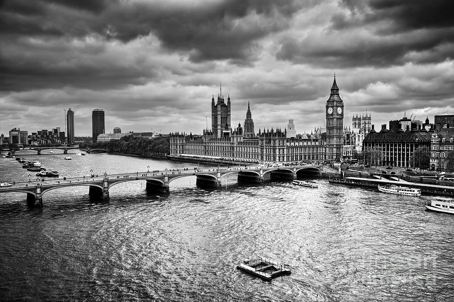 London Photograph - London Uk Big Ben The Palace Of Westminster In Black And White by Michal Bednarek