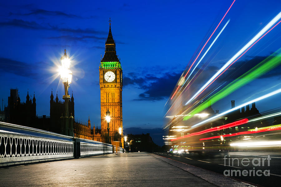London Photograph - London Uk Red Bus In Motion And Big Ben At Night by Michal Bednarek