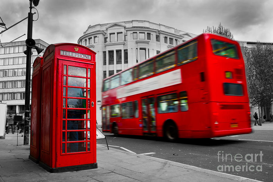 London Photograph - London Uk Red Phone Booth And Red Bus In Motion by Michal Bednarek