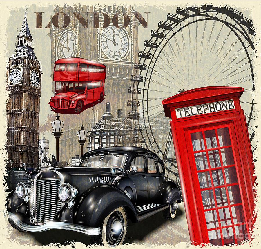 Bus Digital Art - London Vintage Poster by Axpop