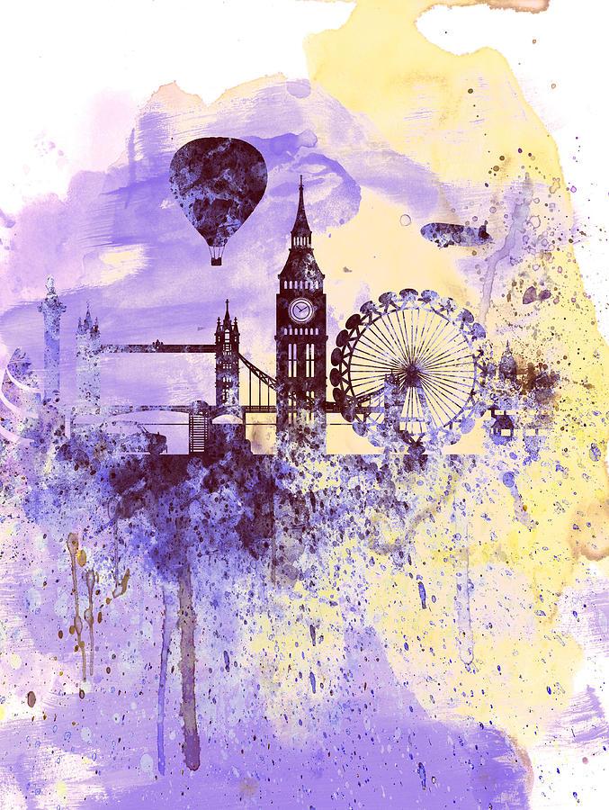 London Painting - London Watercolor Skyline by Naxart Studio