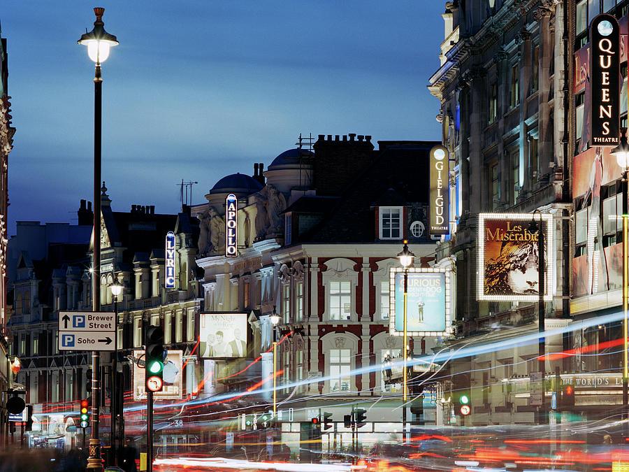 Londons Shaftesbury Avenue At Dusk Photograph by Shomos Uddin