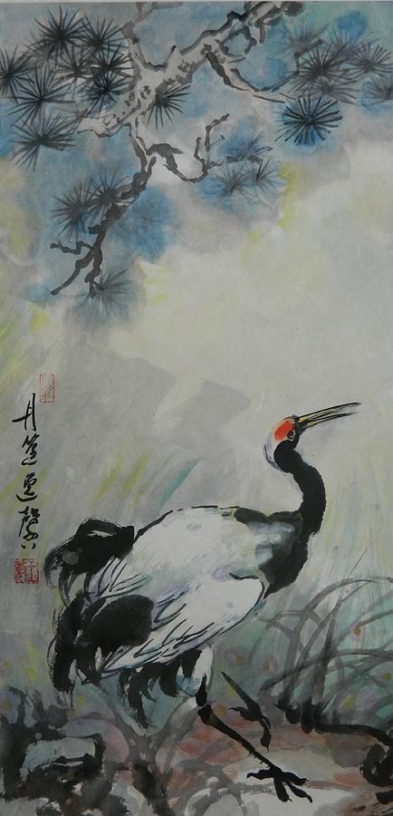 Lone Asian Crane by Min Wang