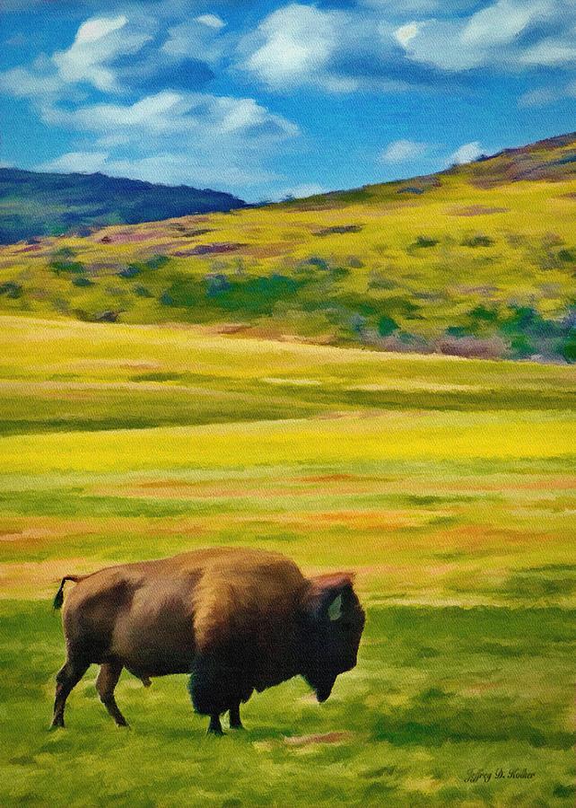 Jeff Painting - Lone Buffalo by Jeffrey Kolker