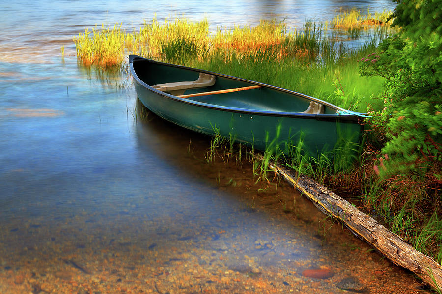 Lone Canoe Moored On Shores Of Upper Photograph by Anna Gorin