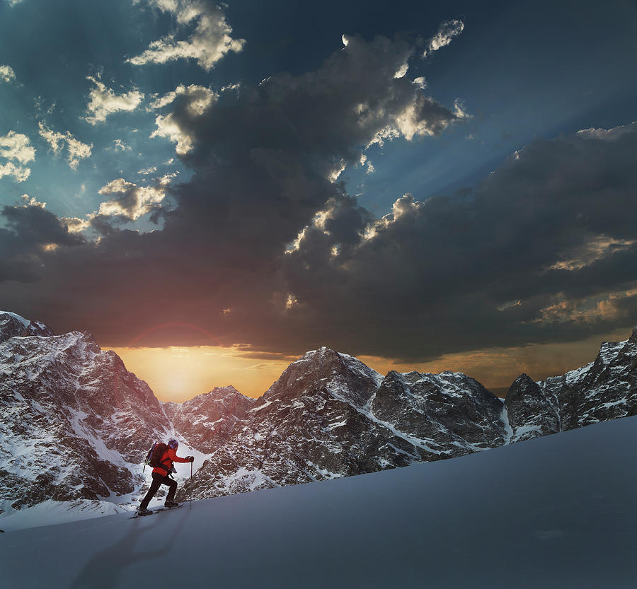 Lone Climber On A Snowy Slope At Sunrise Photograph by Buena Vista Images
