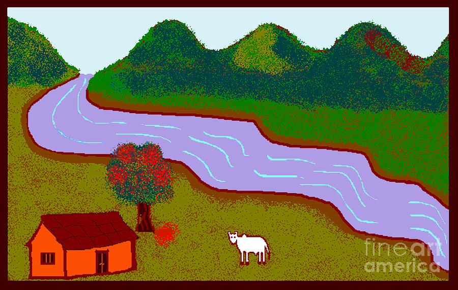 Lone Cow Digital Art by Meenal C