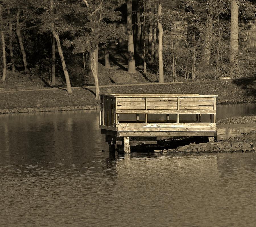 Lake Photograph - Lone Dock by Thomas  MacPherson Jr