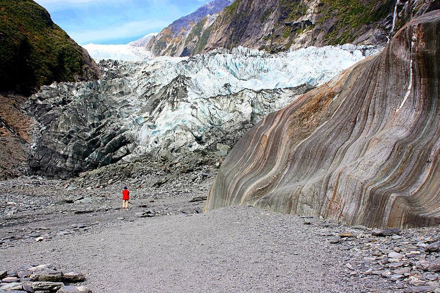 Lone Figure at Franz Joseph Glacier by David Rich