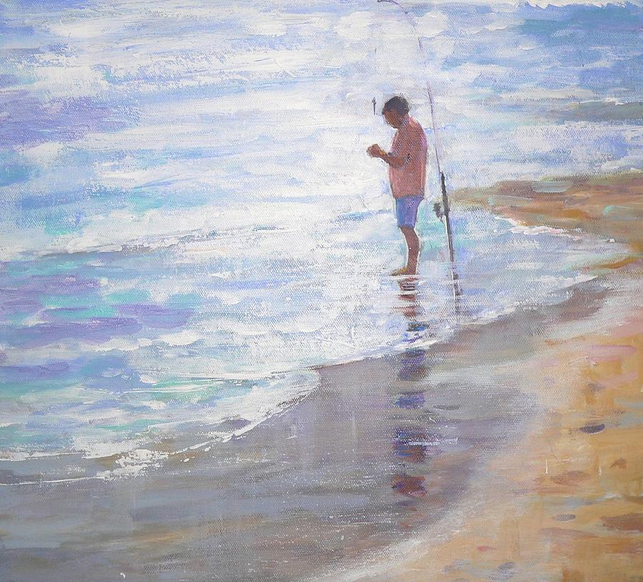 Sea Painting - Lone Fisherman by Jackie Simmonds