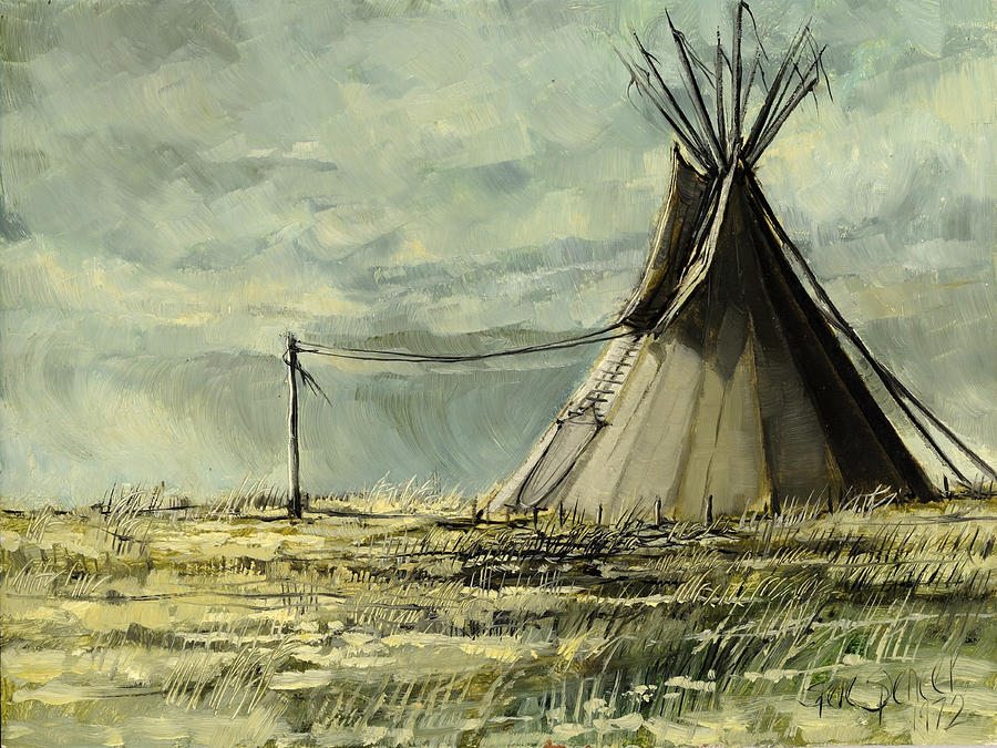 Indian Lodge Painting - Lone Lodge by Steve Spencer