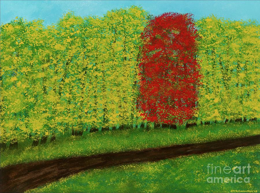 Landscape Painting - Lone Maple Among The Ashes by Hillary Binder-Klein