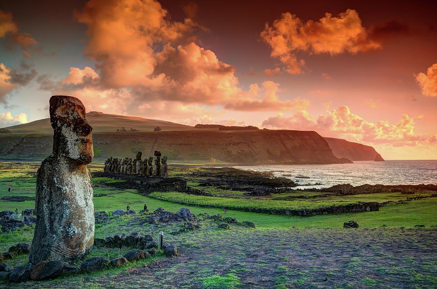 Lone Moai At Tongariki Photograph by Marko Stavric Photography