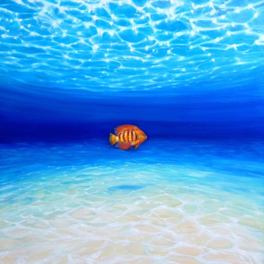 Lone orange fish in big blue ocean number 2 painting by for Ocean blue fish oil