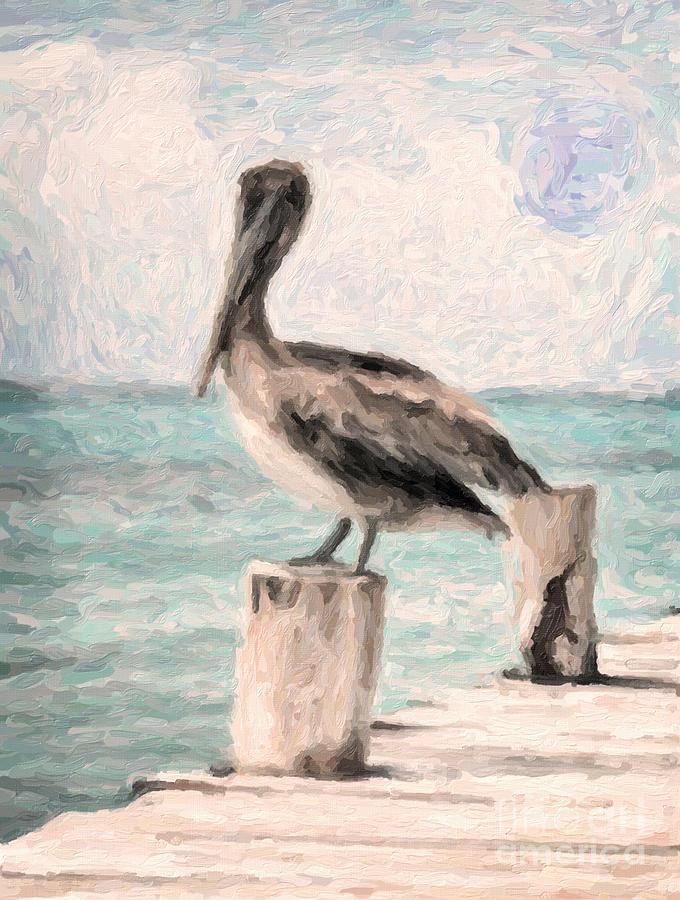 Pelican Painting - Lone Pelican by Adam Asar