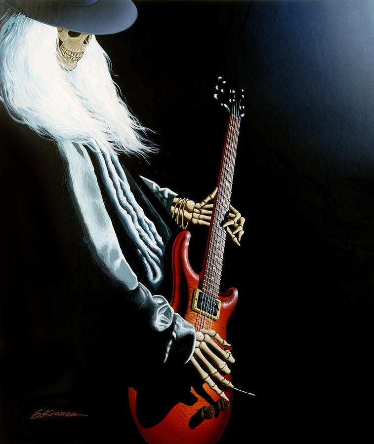Johnny Winter Painting - Lone Player by Gary Kroman