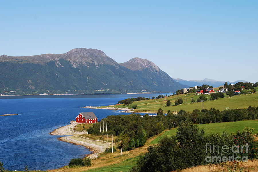 Lone Red House on the Shore by Ankya Klay