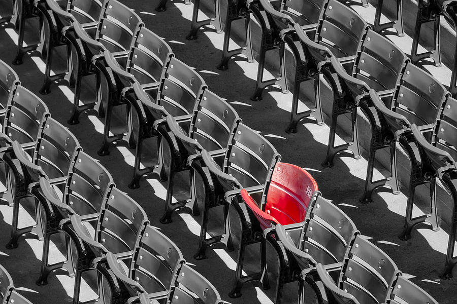 Baseball Photograph - Lone Red Number 21 Fenway Park BW by Susan Candelario