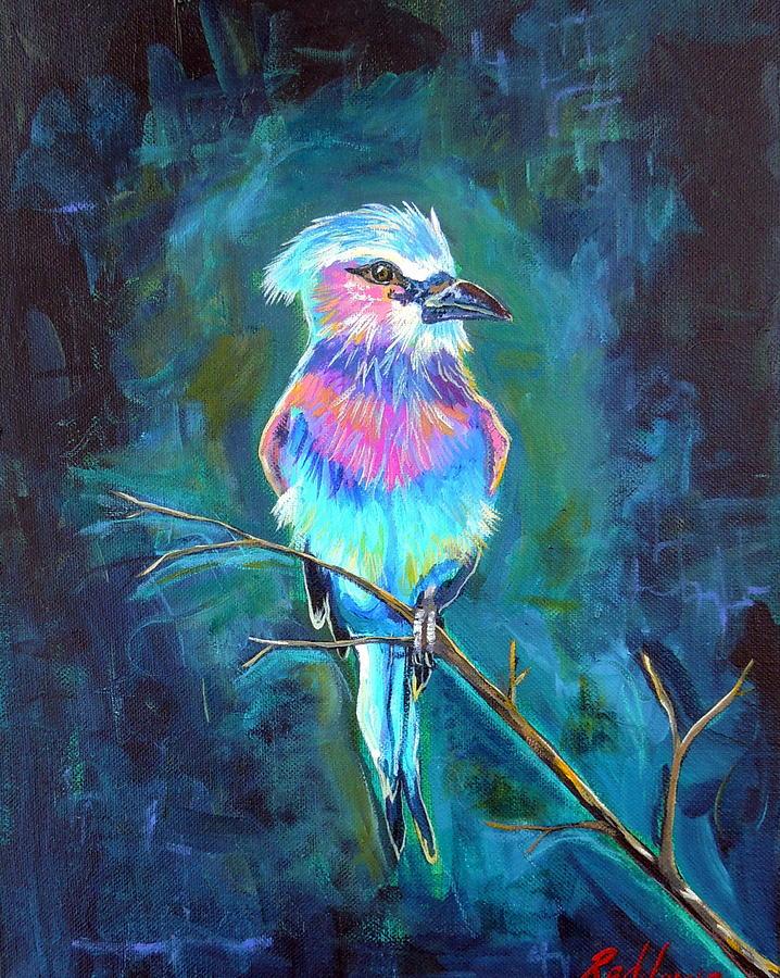 Bird Painting - Lone Roller by Dawn Gray Moraga