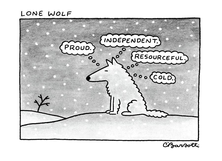 Lone Wolf: Drawing by Charles Barsotti