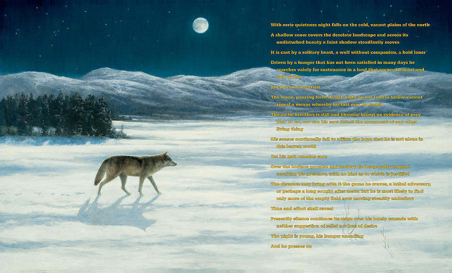 Wolf Painting - Lone Wolf In Winter   Version 1 by Steve Swavely