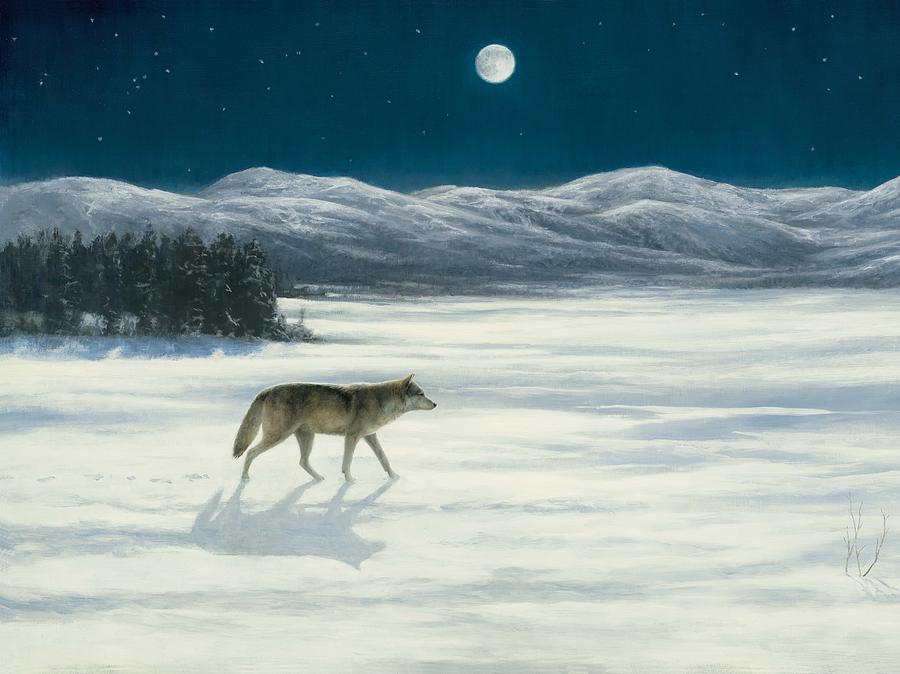 Wolf Painting - Lone Wolf In Winter   Version 2 by Steve Swavely