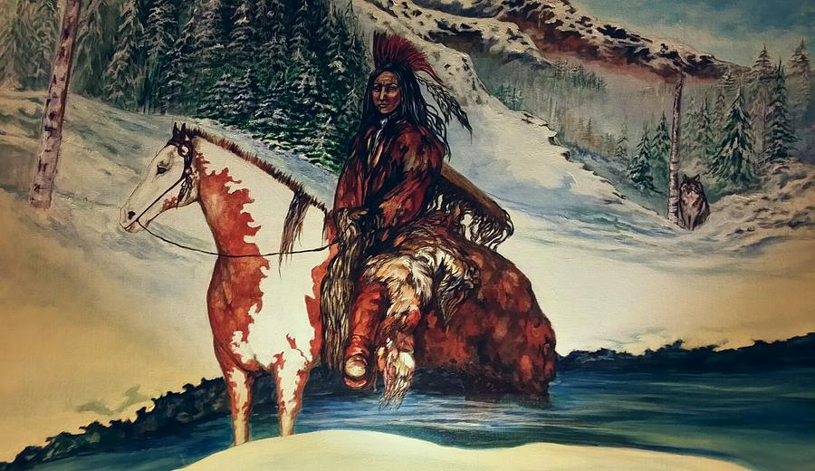 Native American Painting - Lone Wolf by Kendra Sorum