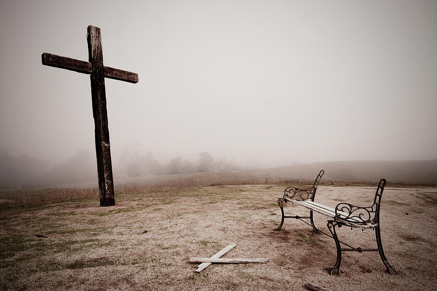 Cross Photograph - Loneliest Pew  by Rick Rhay