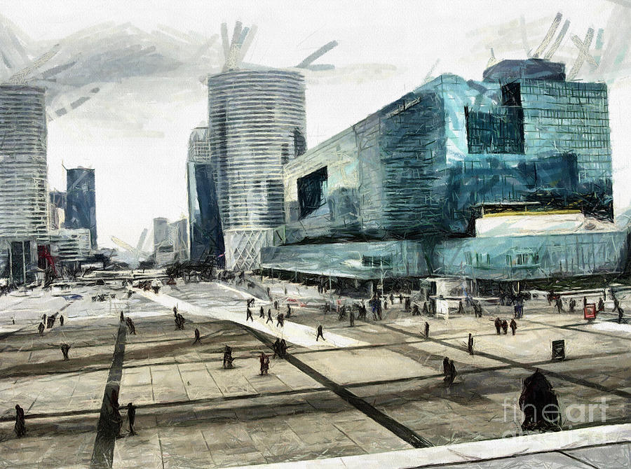 La Defense Pastel - Loneliness And Business In Paris by Daliana Pacuraru