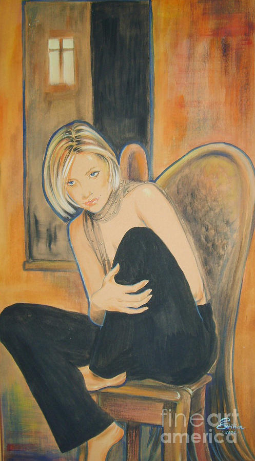 Angel Painting - Lonely Angel by Ottilia Zakany