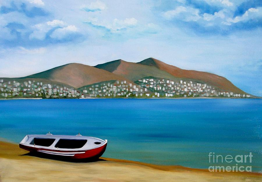Greece Painting - Lonely Boat by Kostas Koutsoukanidis