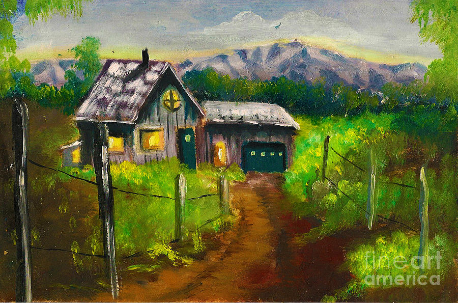 Alaska Painting - Lonely Cabin by Donna Chaasadah