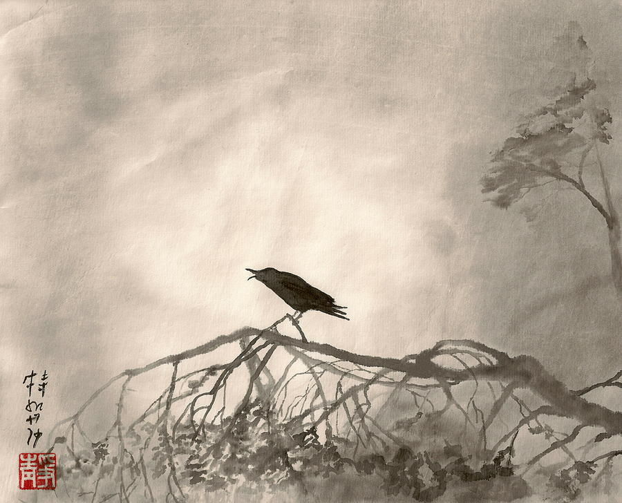 Japanese Painting - Lonely Cry One by Terri Harris