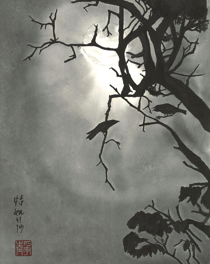 Crow Painting - Lonely Cry Two by Terri Harris