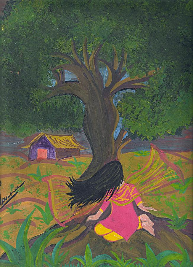 Lonely Girl Painting by Syeda Ishrat