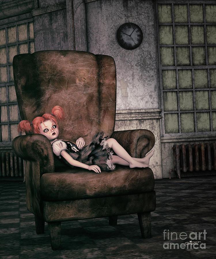 3d Digital Art - Lonely Gothic Doll by Jutta Maria Pusl