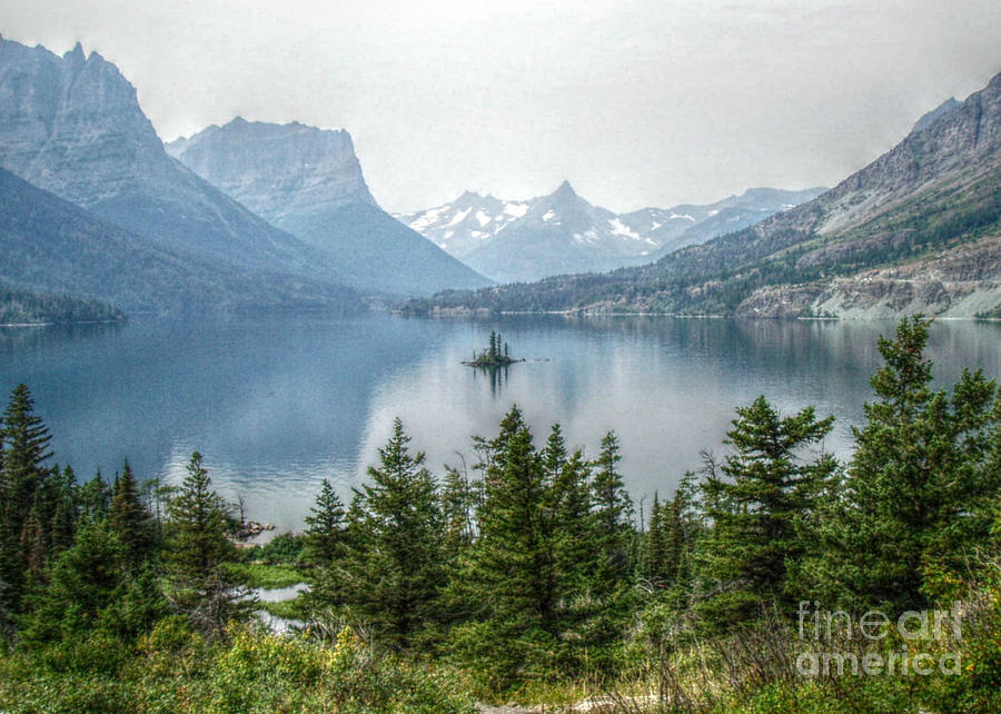 High Dynamic Range Photograph - Lonely Island Among Giants by Janice Sakry
