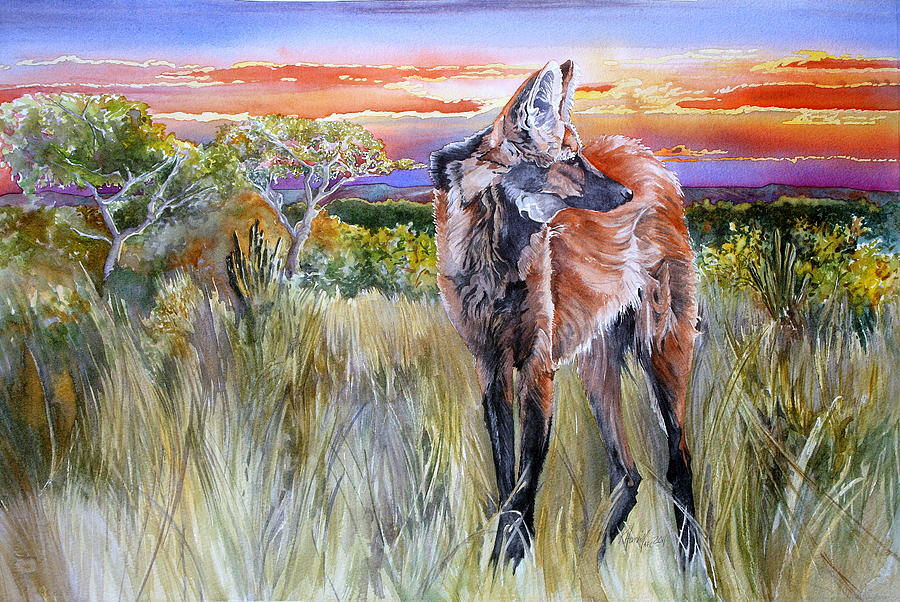 Maned Wolf Painting - Lonely Lobo Sunset by Kitty Harvill