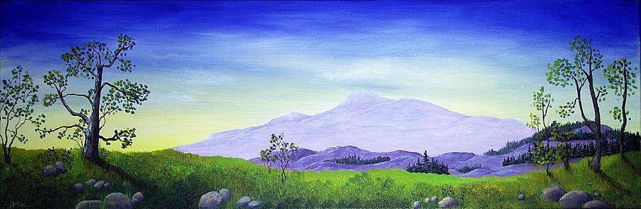 Interior Painting - Lonely Mountain by Anastasiya Malakhova