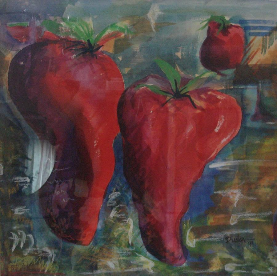 Hot Peppers Painting - Lonely Peppers by Bianca Romani