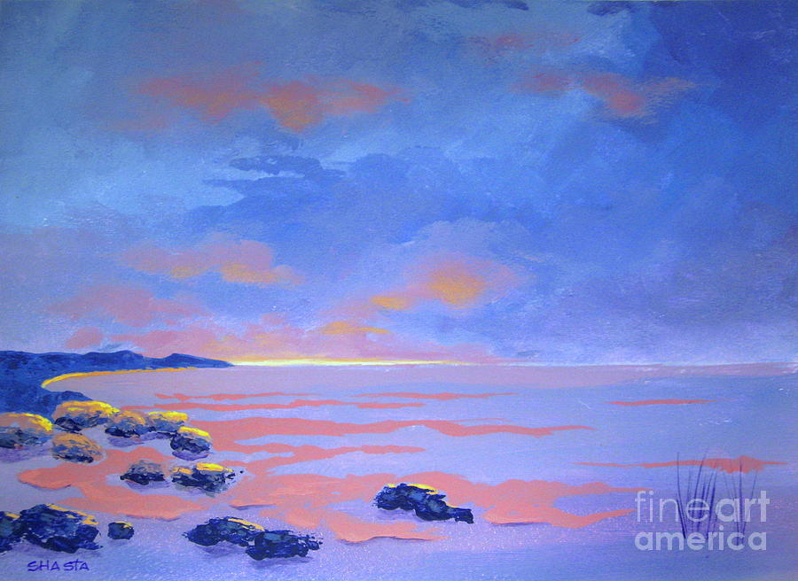 Landscape Painting - Lonely  Sky And Sea by Shasta Eone