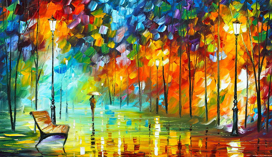 Park Painting - Lonely Stroll 3 by Leonid Afremov