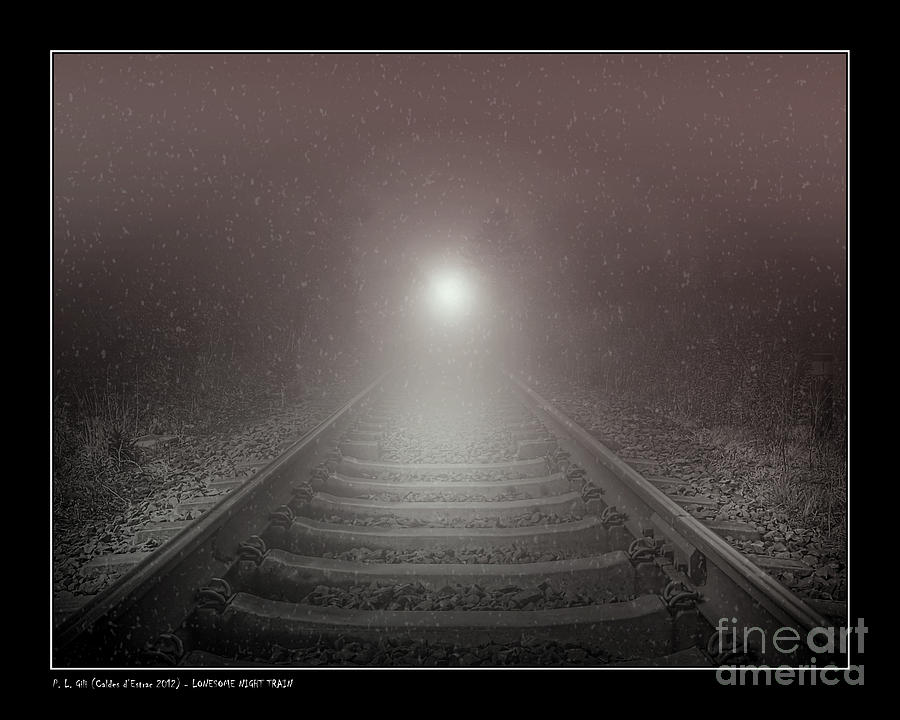 Snow Photograph - Lonesome Night Train by Pedro L Gili
