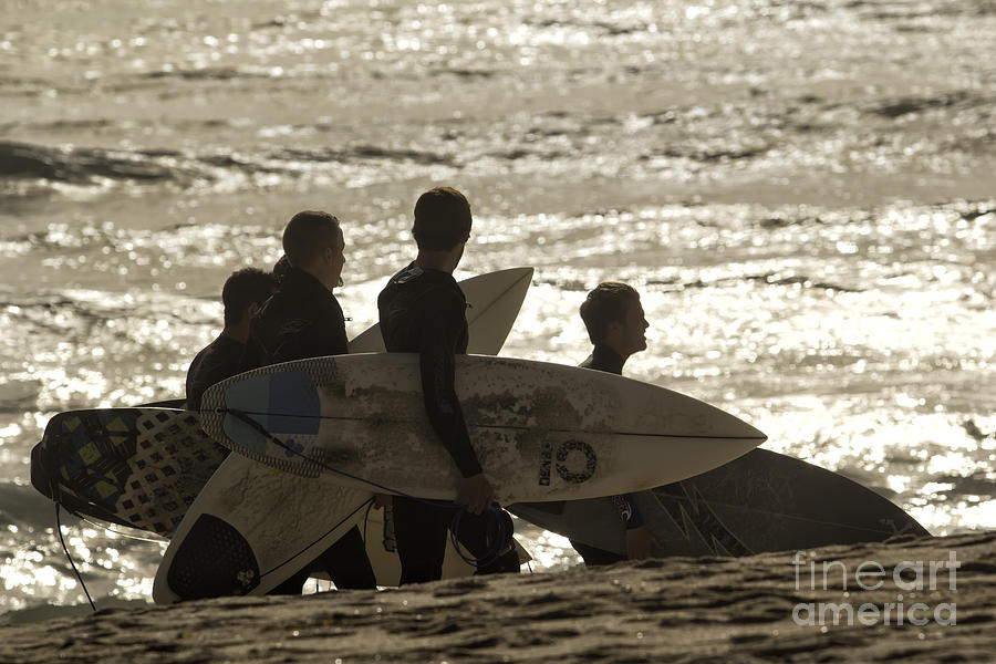 Surf Photograph - Long Day Of Surfing by Christopher Purcell