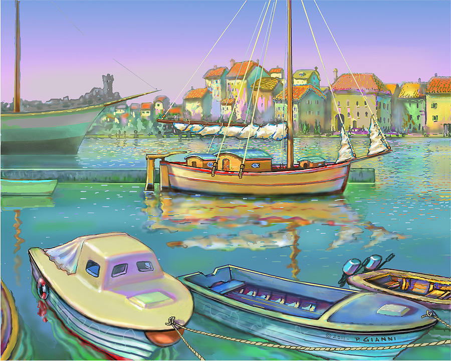 Boat Reflections, Yugoslavia  Painting by Philip Gianni