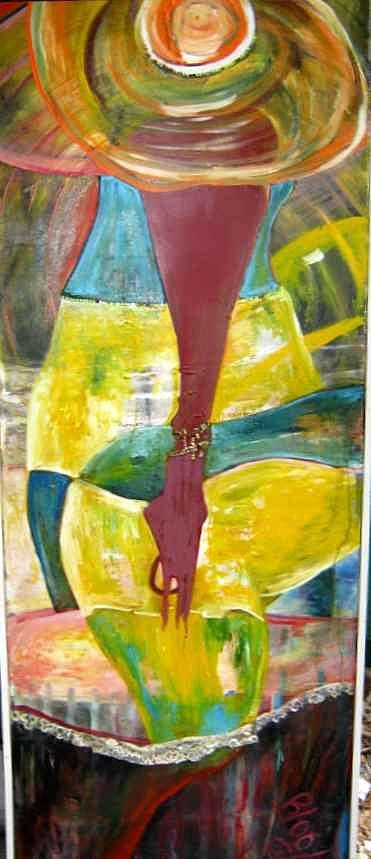 Figurative Painting - Long Haired  Baby  Girl by Peggy  Blood
