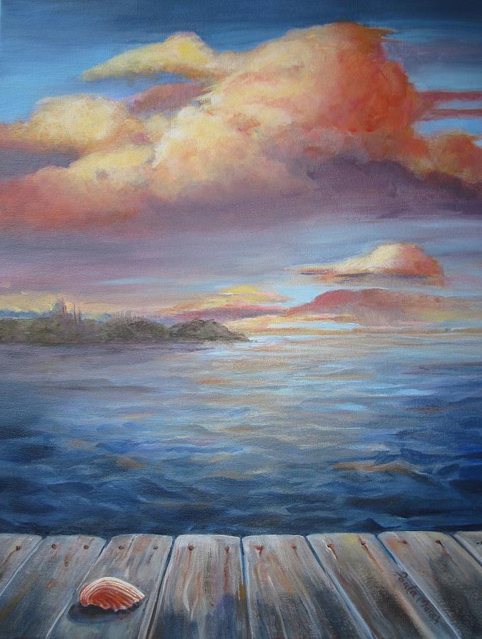 Water Scene Painting - Long Lake  by Paula Marsh